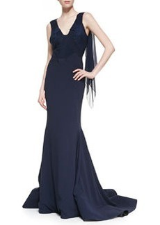 Zac Posen Crepe-Back Satin Gown, Midnight
