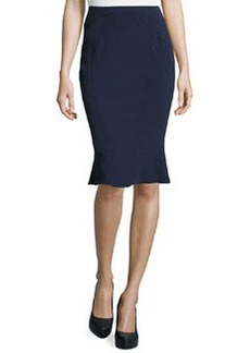 Zac Posen Crepe Flounce Pencil Skirt, Midnight