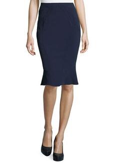 Zac Posen Crepe Flounce Pencil Skirt, Midnight