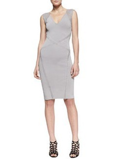 Zac Posen Cross-Seam Sleeveless Sheath Dress