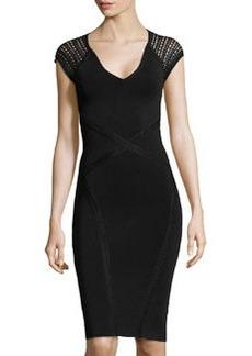 Zac Posen Cross-Seam Sleeveless Sheath Dress, Black