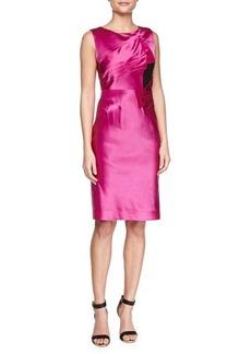Zac Posen Duchess Satin Pleated Dress, Cassis