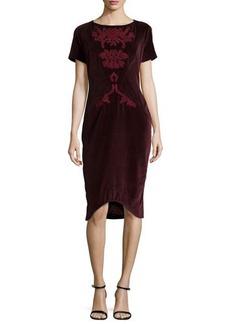 Zac Posen Embroidered Slim Velveteen Dress, Bordeaux