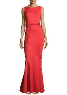 Zac Posen Fitted Low-Back Jersey Mermaid Dress, Cherry