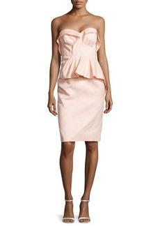 Zac Posen Floral-Brocade Fold-Pleated Peplum Dress, Powder Pink