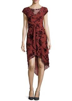 Zac Posen Floral-Flocked Tiered Chiffon Dress, Rust
