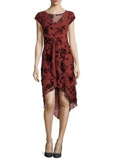 Zac Posen Floral-Flocked Tiered Chiffon Dress, Rust