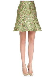 Zac Posen Floral-Jacquard Fit-and-Flare Skirt, Wisley