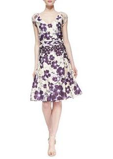 Zac Posen Floral-Print Stretch-Silk Short-Sleeve Dress