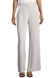 Zac Posen High-Waist Wide-Leg Trousers, Cement