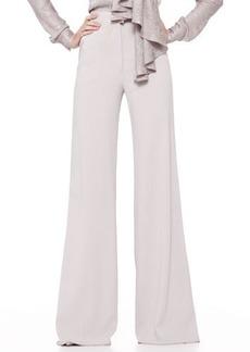 Zac Posen High-Waist Wide-Leg Trousers, Gray