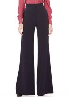 Zac Posen High-Waist Wide-Leg Trousers, Midnight