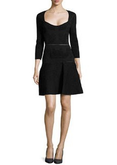 Zac Posen Jacquard Knit Dress, Black