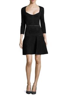 Zac Posen Jacquard Knit Dress, Black