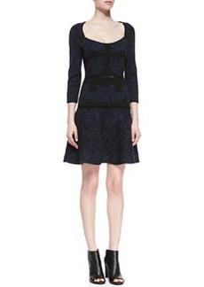 Zac Posen Jacquard Knit Dress, Navy/Black