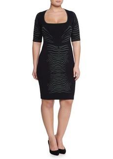 Zac Posen Knit Zebra Dress, Navy/Kale