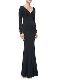 Zac Posen Long-Sleeve Beaded-Cuff Mermaid Gown