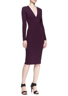 Zac Posen Long-Sleeve Bonded Jersey Dress, Amethyst