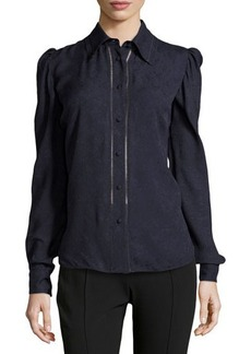Zac Posen Long-Sleeve Collared Button-Up Blouse  Long-Sleeve Collared Button-Up Blouse
