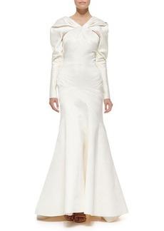 Zac Posen Long-Sleeve Duchesse Satin Gown, Ivory