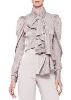 Zac Posen Long-Sleeve Tie-Neck Blouse, Gray