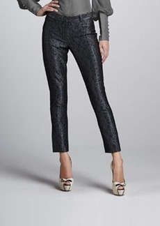 Zac Posen Metallic Brocade Skinny Pants