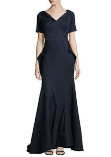 Zac Posen Off-The-Shoulder Draped Lace-Jacquard Gown, Midnight