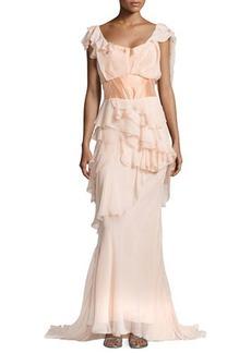 Zac Posen Off-the-Shoulder Ruffle Gown, Peach
