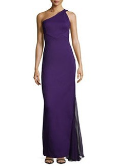 Zac Posen One-Shoulder Chiffon-Inset Gown, Purple