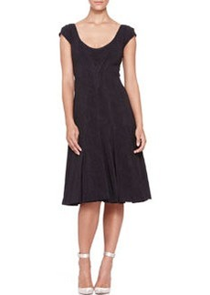 Zac Posen Pleated Cap-Sleeve Dress, Midnight