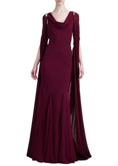 Zac Posen Pleated Cape-Back Gown, Deep Raspberry