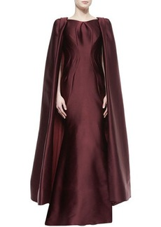 Zac Posen Pleated Convertible Cape Gown