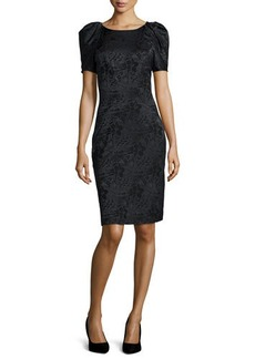 Zac Posen Pleated-Sleeve Floral Jacquard Sheath Dress  Pleated-Sleeve Floral Jacquard Sheath Dress