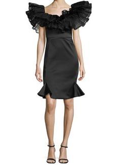 Zac Posen Puff Ruffled Cocktail Dress, Black