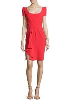 Zac Posen Ruffle Cascade Short-Sleeve Dress
