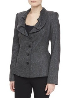 Zac Posen Ruffle Neck Tweed Jacket, Heather