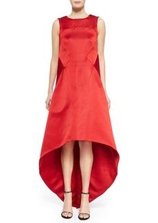 Zac Posen Satin High-Low V-Back Dress, Cardinal