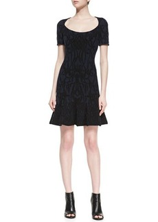 Zac Posen Scoop-Neck Jacquard Dress, Navy/Black