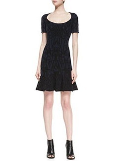 Zac Posen Scoop-Neck Jacquard Dress, Navy/Black