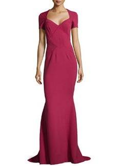 Zac Posen Seam-Detailed Pique-Knit Gown, Cherry Wine