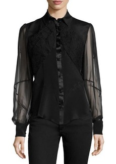 Zac Posen Sheer-Sleeve Embroidered Blouse