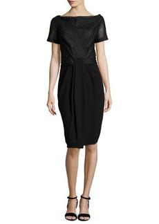 Zac Posen Short-Sleeve Draped-Front Combo Dress, Black