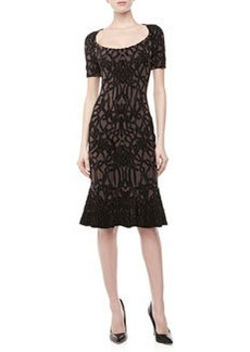 Zac Posen Short-Sleeve Jacquard Fluted Dress, Black/Maude