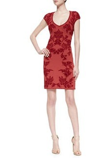 Zac Posen Short-Sleeve Jacquard Sheath Dress