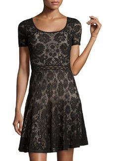 Zac Posen Short-Sleeve Lace Dress, Black