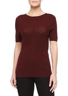 Zac Posen Short-Sleeve Mixed Knit Top, Burgundy
