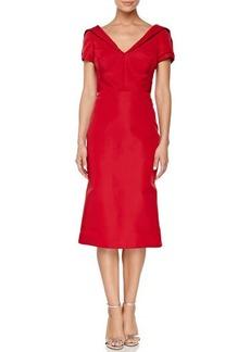 Zac Posen Short-Sleeve Silk Duchesse Dress, Grenadine
