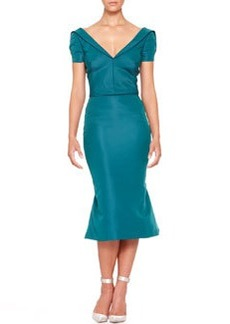 Zac Posen Short-Sleeve Silk Duchesse Dress, Teal