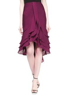 Zac Posen Silk Chiffon Ruffle Skirt