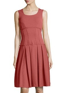 Zac Posen Sleeveless A-Line Pique-Knit Dress, Rust